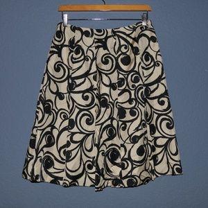 TALBOTS 100% Silk Scroll Design Pleated Skirt [F2]